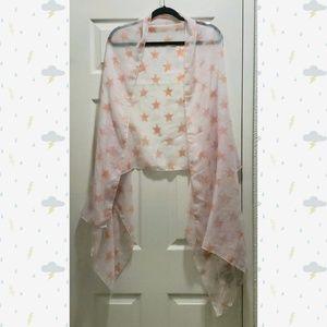 Sheer peach & white star wrap scarf or shawl
